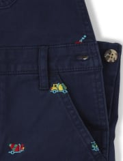 Boys Embroidered Transportation Shortalls - Travel Adventure