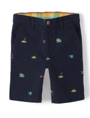 Boys Embroidered Transportation Chino Shorts - Travel Adventure