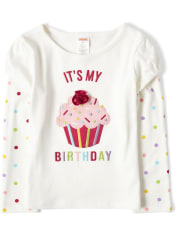 Girls Embroidered Cupcake 2 In 1 Top - Birthday Boutique