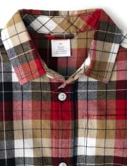 Boys Plaid Button Up Shirt - Preppy Puppy