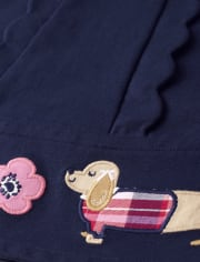 Girls Scalloped Ponte Dress - Preppy Puppy