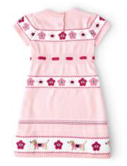 Girls Intarsia Sweater Dress - Preppy Puppy