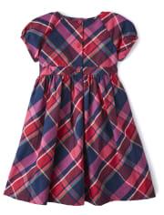 Girls Plaid Dress - Candy Apple