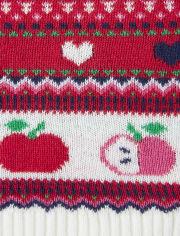 Girls Fairisle Sweater Dress - Candy Apple