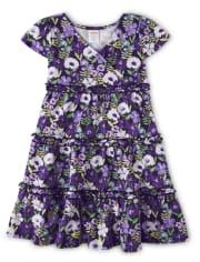 Girls Violet Wrap Dress - Whooo's Cute