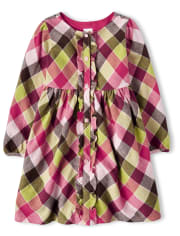 Girls Plaid Ruffle Dress - Pony Club