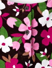 Girls Floral Corduroy Dress - Pony Club