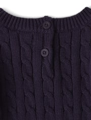 Girls Applique Flowers Sweater Dress - Berry Cute