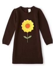 Girls Crochet Applique Sunflower Sweater Dress - Harvest