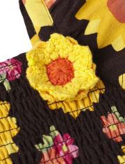 Girls Sunflower Smocked Dress - Harvest