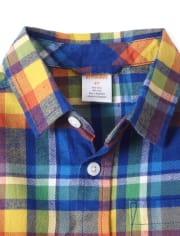 Boys Plaid Button Up Shirt - Demolition Dude