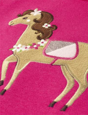 Girls Textured Horse Bow Top - Pony Club