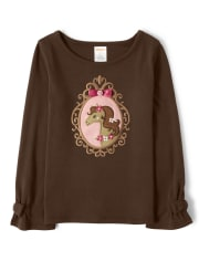 Girls Embroidered Horse Bow Top - Pony Club