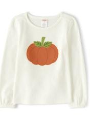 Girls Applique Top - Lil' Pumpkin