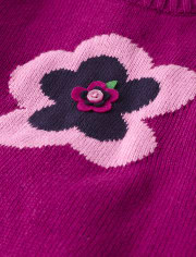 Girls Embroidered Flower Sweater - Berry Cute
