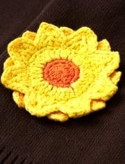 Girls Applique Sunflower Cardigan - Harvest