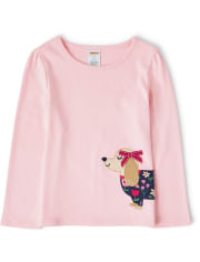 Girls Embroidered Dog Top - Preppy Puppy