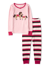 Girls Pony Club Cotton 2-Piece Pajamas - Gymmies