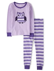 Girls Whooo's Cute Cotton 2-Piece Pajamas - Gymmies