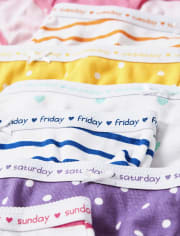 Girls Dot And Striped Days Of The Week Briefs 7-Pack