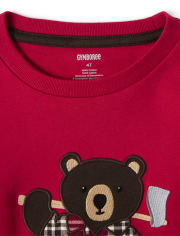 Boys Embroidered Bear 2 In 1 Top - Moose Mountain