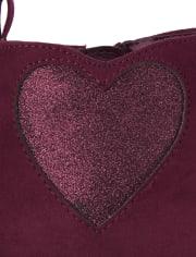 Girls Glitter Heart Booties - Winter Wonderland