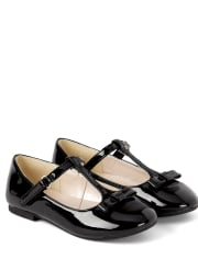 Girls Bow T-Strap Ballet Flats - Picture Perfect