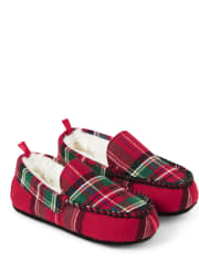 Unisex Girls And Boys Plaid Flannel Moccasin Slippers - Gymmies