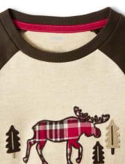 Boys Embroidered Plaid Moose Top - Moose Mountain