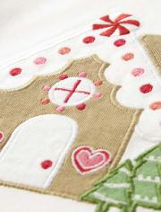 Girls Embroidered Gingerbread House Top - Winter Wonderland
