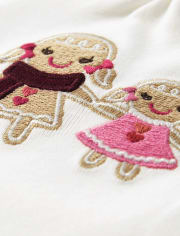 Girls Embroidered Gingerbread Top - Winter Wonderland