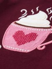 Girls Embroidered Hot Chocolate Top- Winter Wonderland
