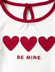 Girls Embroidered Heart Top - Valentine Cutie