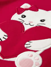 Girls Embroidered Cat Top - Valentine Cutie