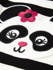 Girls Embroidered Striped Top - Panda Party