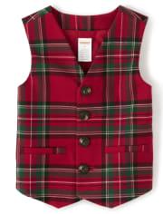 Boys Plaid Suit Vest - Picture Perfect