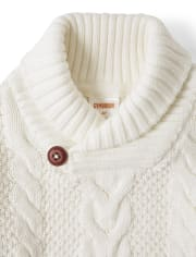 Boys Cable Knit Shawl Neck Sweater - Picture Perfect