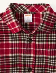Boys Plaid Button Up Shirt - Moose Mountain