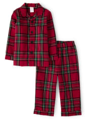 Unisex Girls And Boys Matching Family Plaid Flannel 2-Piece Pajamas - Gymmies