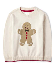 Boys Embroidered Gingerbread Sweater - Moose Mountain