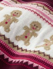 Girls Gingerbread Fairisle Sweater Dress - Winter Wonderland