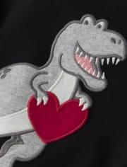 Boys Embroidered Dino 2 In 1 Top - Valentine Cutie