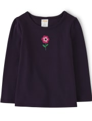 Girls Embroidered Flower Top - Every Day Play