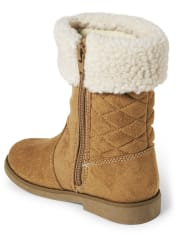 Girls Quilted Tall Boots - Winter Wonderland