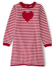Girls Striped Sweater Dress - Valentine Cutie