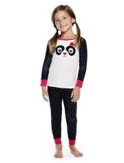 Girls Panda Party Cotton 2-Piece Pajamas - Gymmies