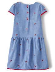 Girls Embroidered Chambray Dress - Little Ladybug