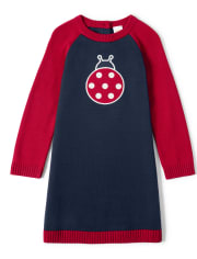 Girls Intarsia Sweater Dress - Little Ladybug