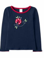 Girls Embroidered Top - Little Ladybug