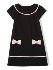 Girls Bow Ponte Shift Dress - Puuurfect In Paris